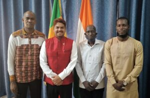 Ambassador of India to Mali H.E. Anjani Kumar met Mr. Mohamed Abdoulaye Touré, Mr. Sekouba Doumbia and Mr. Hamadou Amadou Cissé Barry who have received scholarships from Indian Council For Cultural Relations .